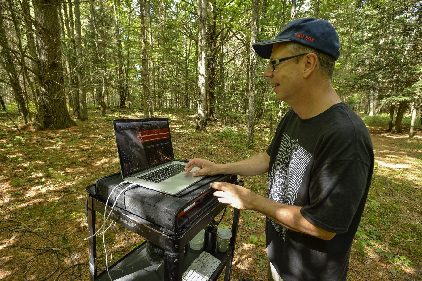 Composer Pete Wyer in The Wild Center's iForest